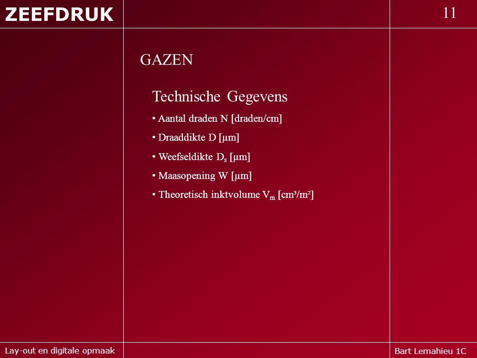 ZEEFDRUK 11 GAZEN Technische Gegevens Aantal draden N [draden/cm]